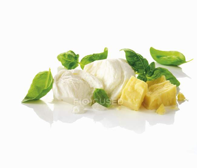 Mozzarella, basilic et Parmesan — Photo de stock