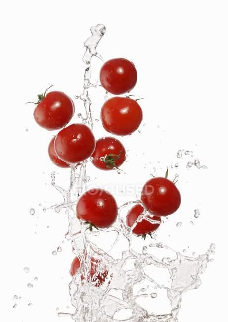 Washing red tomatoes — Stock Photo