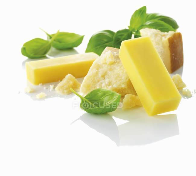 Gruyere Parmesan and basil — Stock Photo
