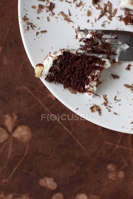 Частково з'їли шоколадний торт — стокове фото
