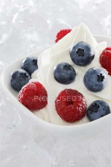 Crème glacée yaourt avec fruits frais — Photo de stock