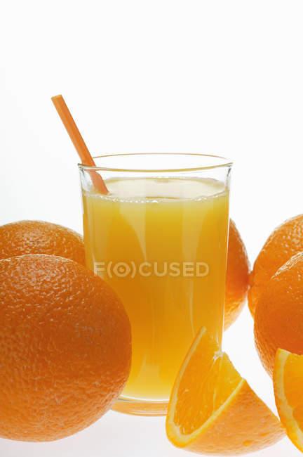 Orange juice in glass — Stock Photo