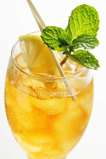 Primo piano vista del tè freddo alla menta piperita con menta fresca e limone — Foto stock