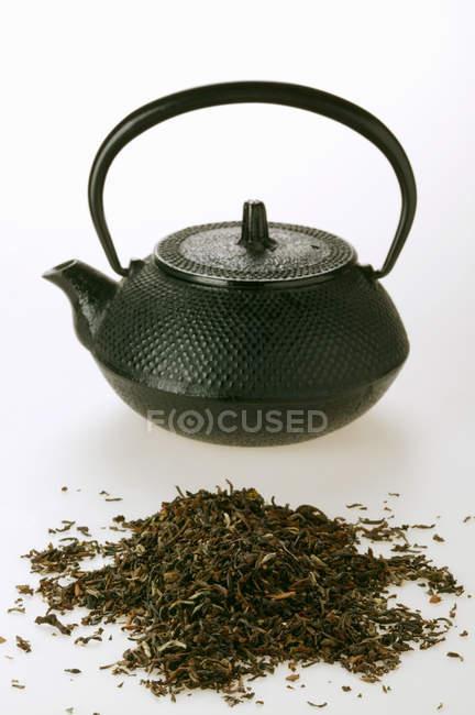 Tea in front of teapot — Stock Photo