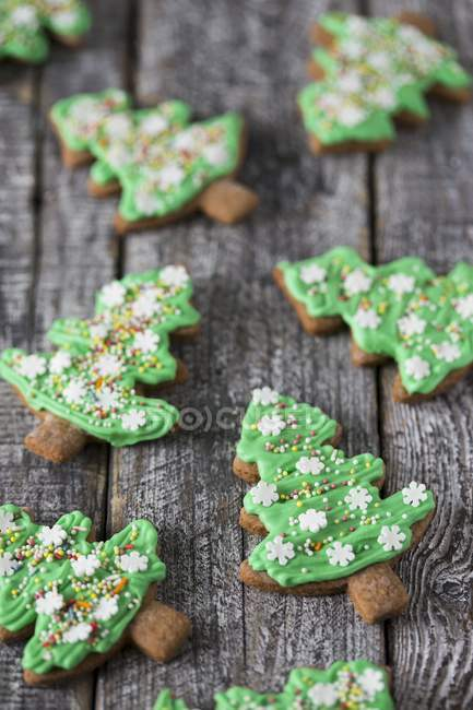 Gingerbread Christmas Tree Biscuits Selective Focus Green Stock