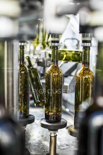 Detailansicht des strömenden Wein in Flaschen auf einer Abfüllanlage — Stockfoto
