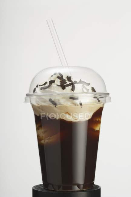 Closeup view of iced coffee with whipped cream — Stock Photo