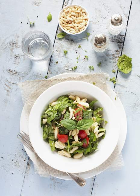 Bowl of pasta and spinach salad — Stock Photo