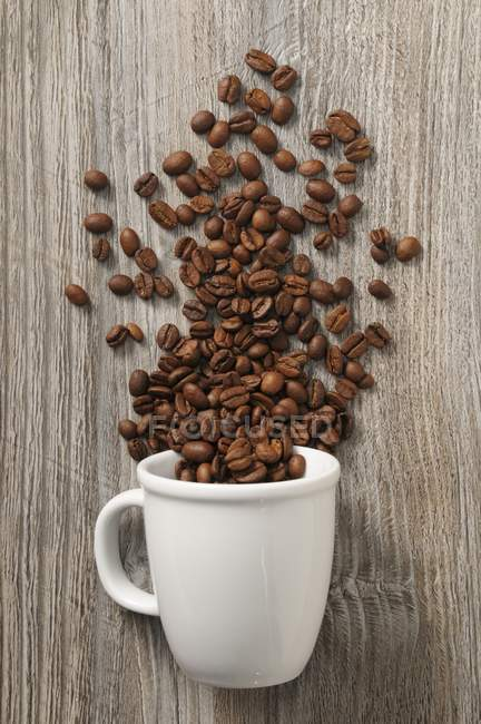 Coffee beans and white cup — Stock Photo