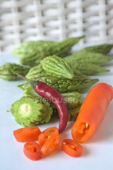 Chilli peppers and sour gourds — Stock Photo