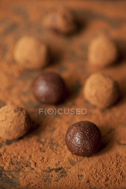 Шоколадные трюфели выпадет — стоковое фото