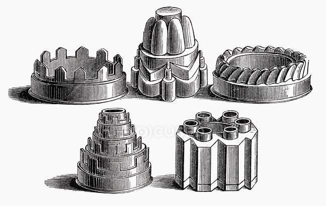 Иллюстрация различных старый выпечки банок на белом фоне — стоковое фото