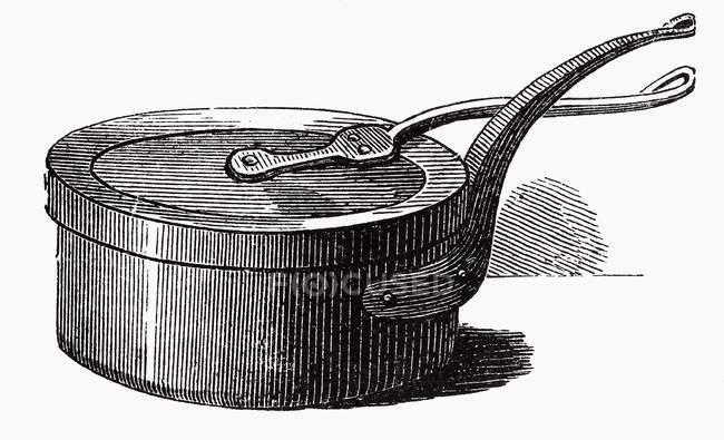 Illustration of one old casserole with lid — Stock Photo