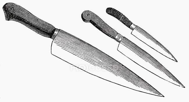 Ilustración de tres cuchillos diferentes sobre fondo blanco - foto de stock