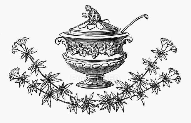 Illustration der festlichen Suppenterrine mit Zweigen und Blumen — Stockfoto