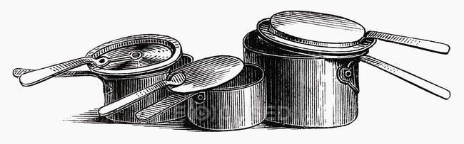 Illustration of various old pots and pans — Stock Photo