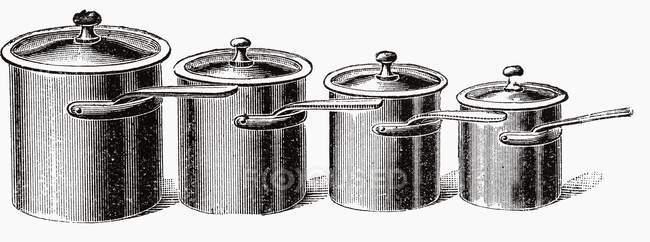 Иллюстрация четырех различных размеров горшки — стоковое фото