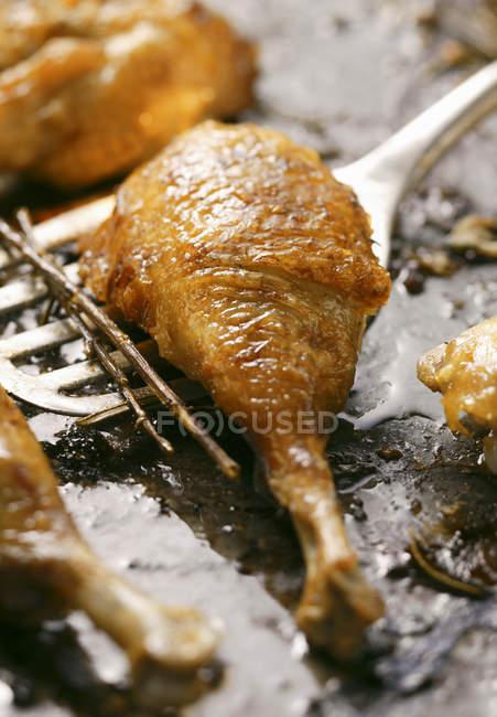 Pierna de pollo asado crujiente - foto de stock