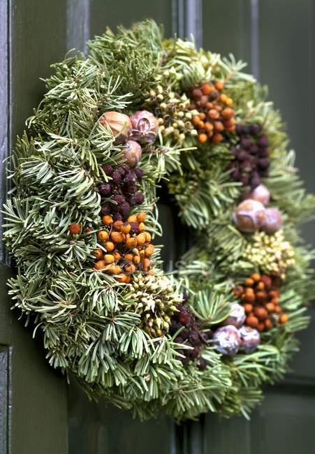 Різдвяні вінки двері — стокове фото