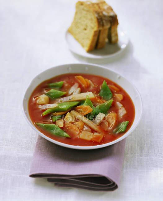 Zuppa di pomodoro con verdure miste — Foto stock