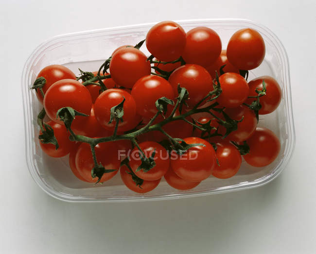 Cherry tomatoes in plastic punnet — Stock Photo