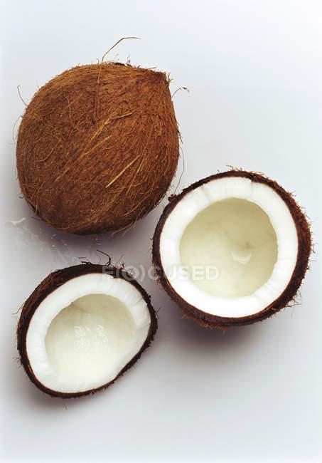 Свіжого кокосу та половинки — стокове фото