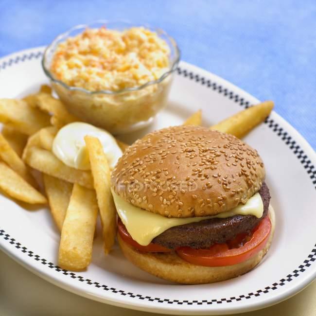 Hamburger vegetariano con patatine fritte — Foto stock