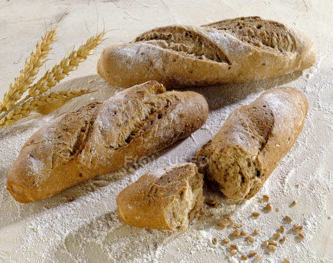 Baguette rolls with wheat — Stock Photo