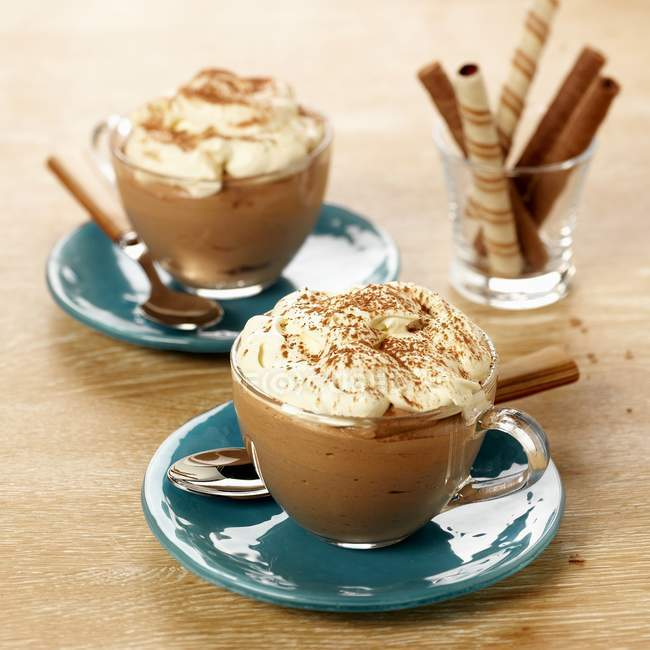 Closeup view of Mocha cream in two glass cups — Stock Photo