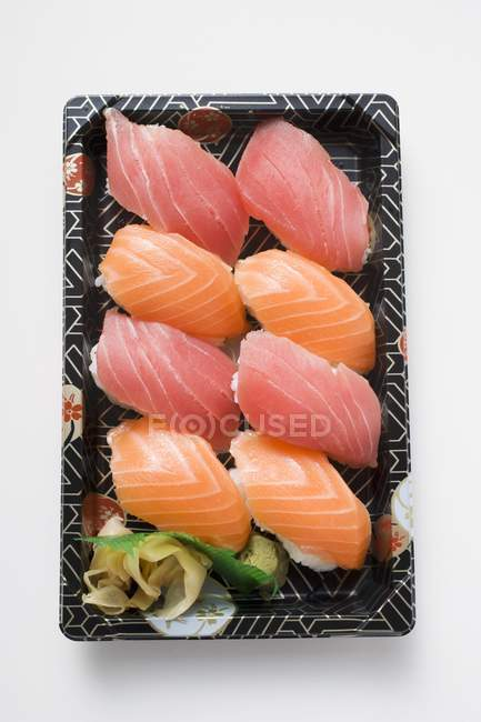 Tray of nigiri sushi — Stock Photo