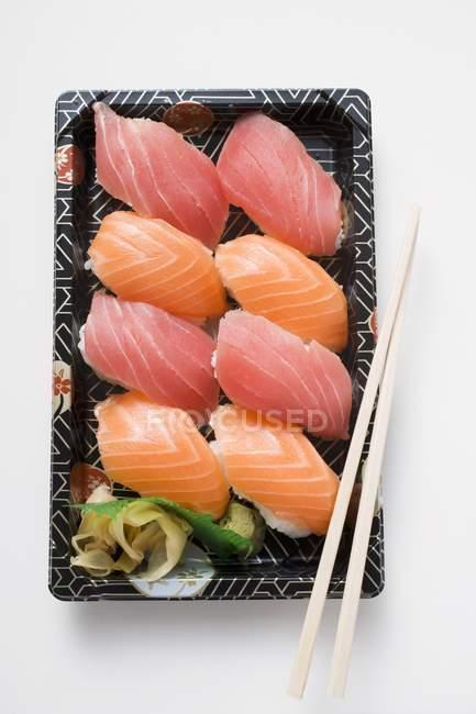 Tray of nigiri sushi — Stock Photo