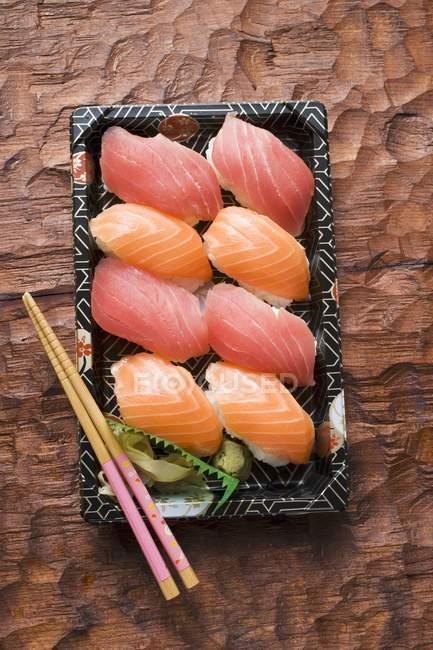 Nigiri sushi to take away — Stock Photo