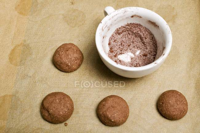Unbaked hazelnut biscuits — Stock Photo