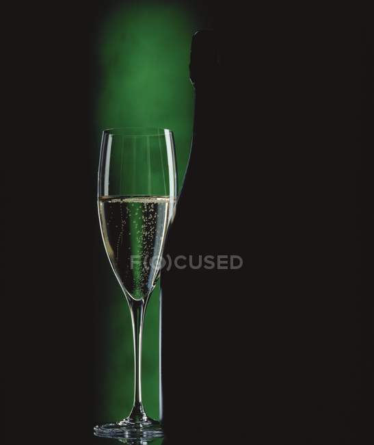Glass of sparkling wine beside wine bottle — Stock Photo