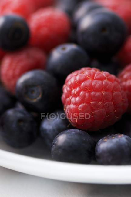 Fresh ripe blueberries and raspberries — Stock Photo