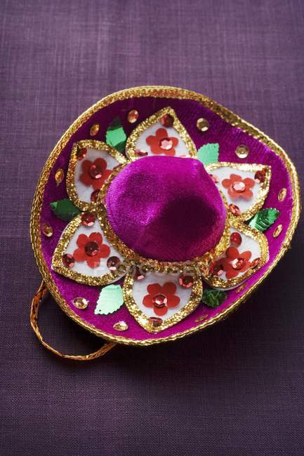 Hat embroidered with sequins — Stock Photo