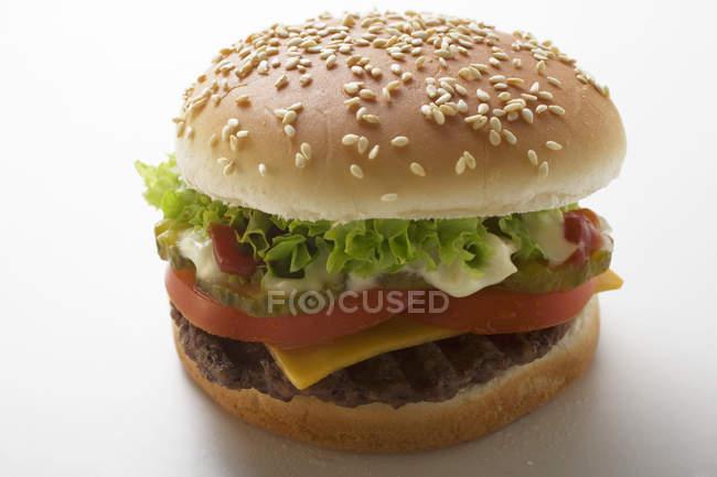Hamburguesa clásica con tomate - foto de stock