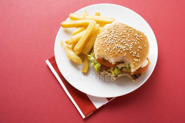 Mordu de Cheeseburger avec frites — Photo de stock