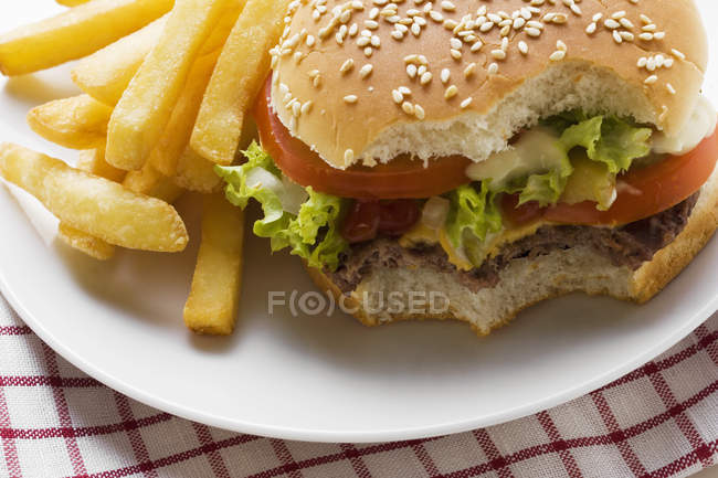 Cheeseburger and Potato Fries — Stock Photo