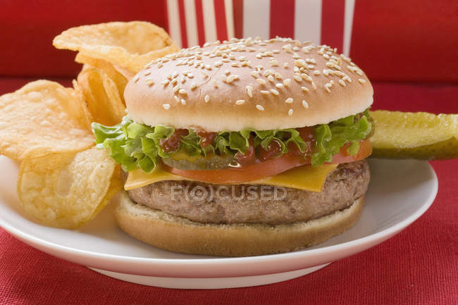 Hamburguesa de queso con patatas fritas - foto de stock