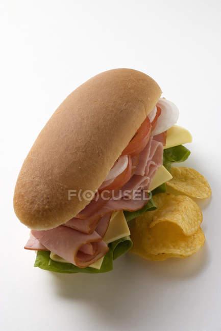 Sous sandwich avec chips — Photo de stock