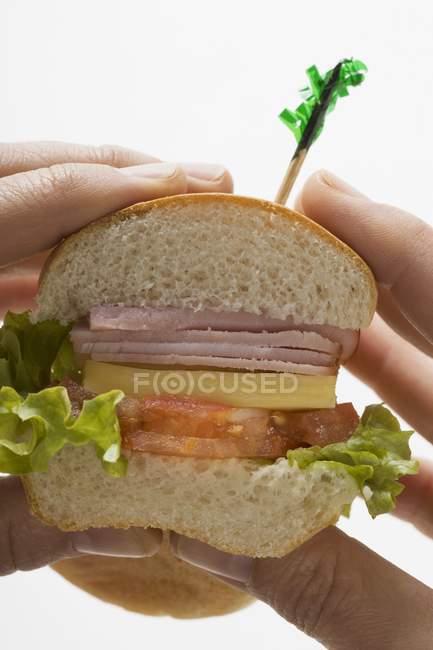 Mains tenant un sandwich — Photo de stock