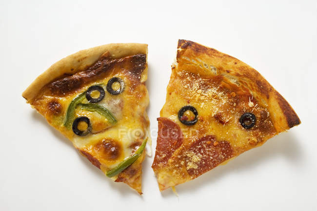 Pieces of different pizzas — Stock Photo