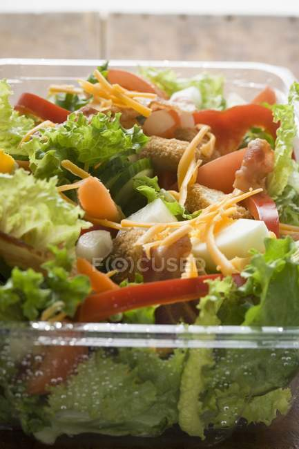 Salad leaves with vegetables — Stock Photo