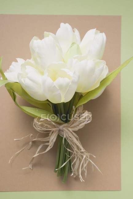 Top view of white tulips tied in a bunch on a piece of paper — Stock Photo