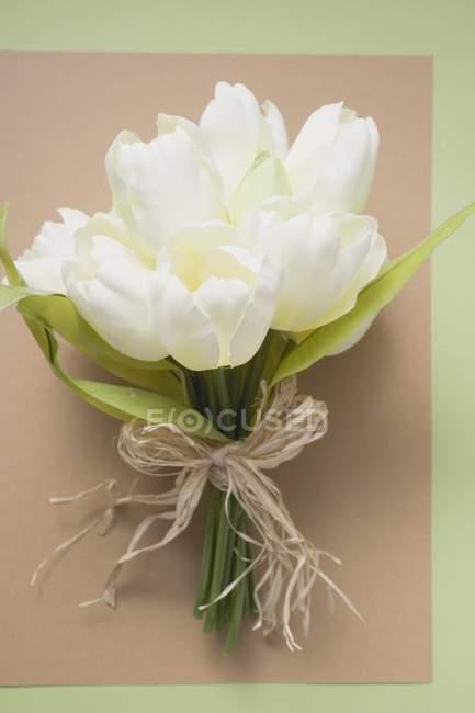 Верхний вид белых тюльпанов, завязанных в кучу на листе бумаги — стоковое фото