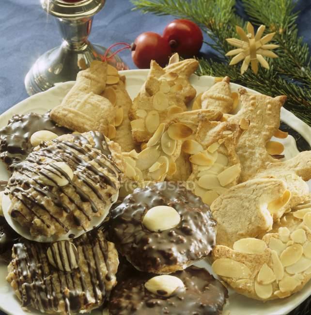 Detailansicht der Spekulatius Kekse und Schokolade Lebkuchens — Stockfoto