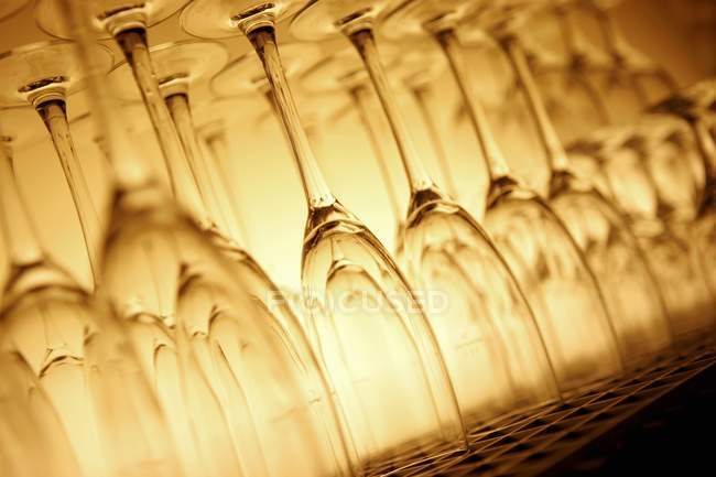 Closeup view of upturned empty Champagne flutes — Stock Photo