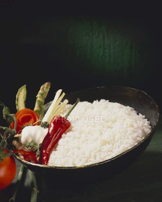 Basmatireis mit würzigem Gemüse — Stockfoto
