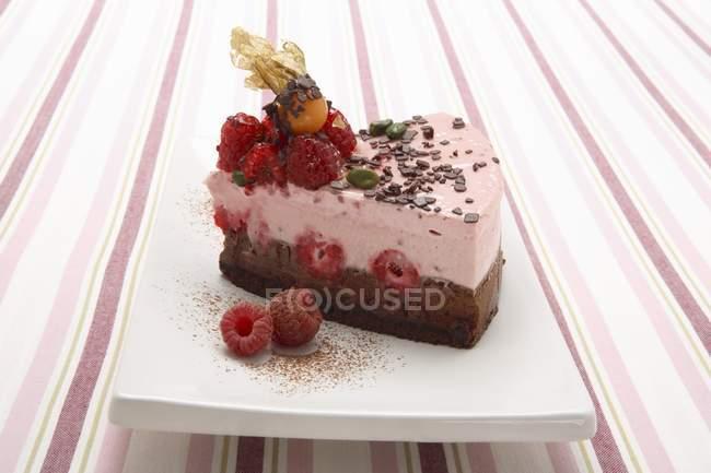Vista de cerca de semifrío de chocolate y frambuesa - foto de stock
